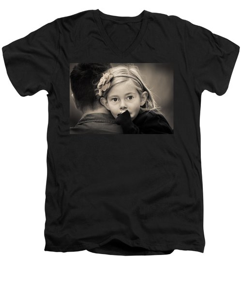 With Dad - B And W Men's V-Neck T-Shirt