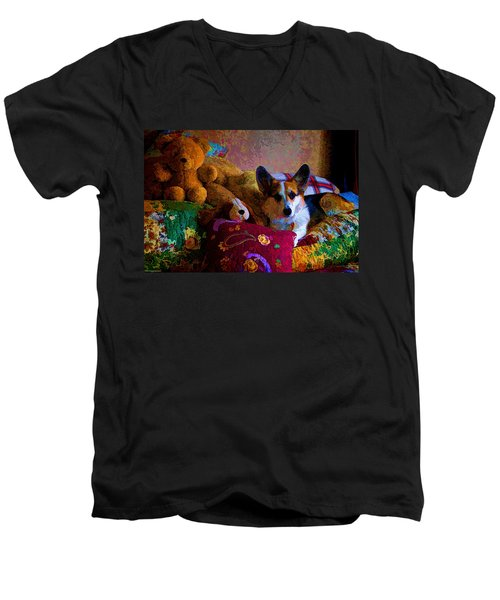With His Friends On The Bed Men's V-Neck T-Shirt