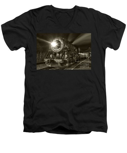 Wmsr Engine 734 At The Frostburg Depot Men's V-Neck T-Shirt by Jeannette Hunt