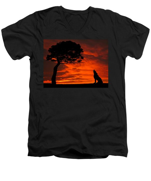 Wolf Calling For Mate Sunset Silhouette Series Men's V-Neck T-Shirt