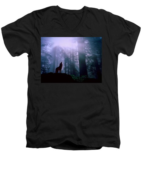 Wolf In The Woods Men's V-Neck T-Shirt