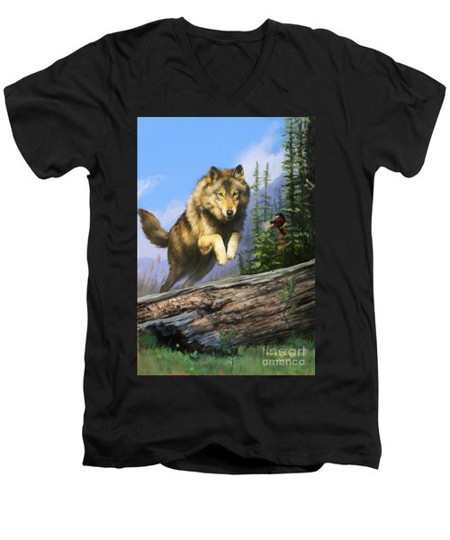 Men's V-Neck T-Shirt featuring the painting Wolf Run Indian Hunter by Rob Corsetti