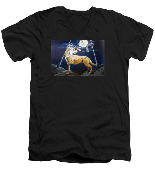 Men's V-Neck T-Shirt featuring the painting Wolves Mouth  by Lazaro Hurtado