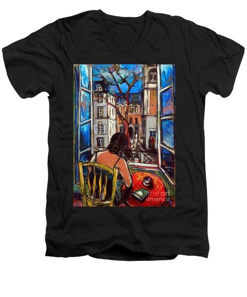 Woman At Window Men's V-Neck T-Shirt