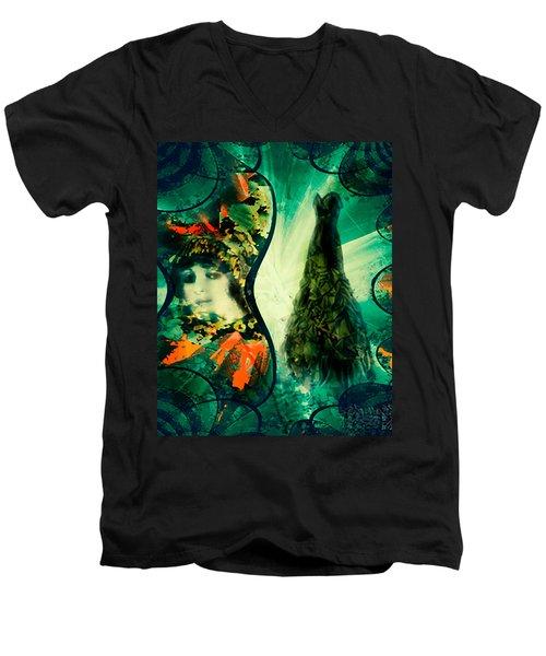 Green Mystery Montage Men's V-Neck T-Shirt