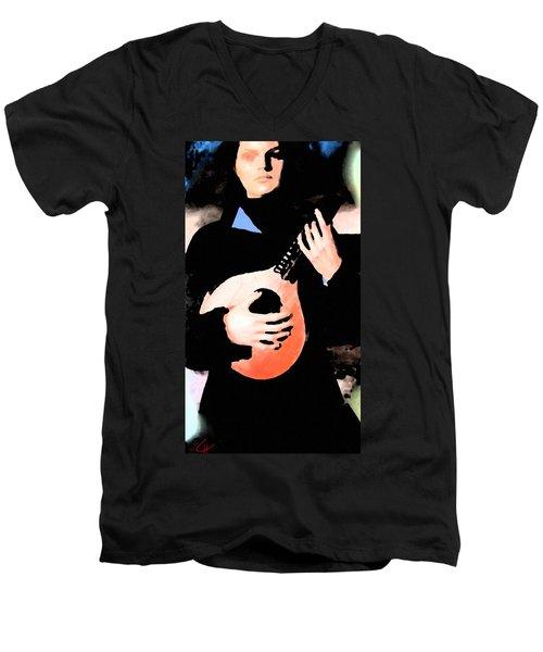 Women With Her Guitar Men's V-Neck T-Shirt