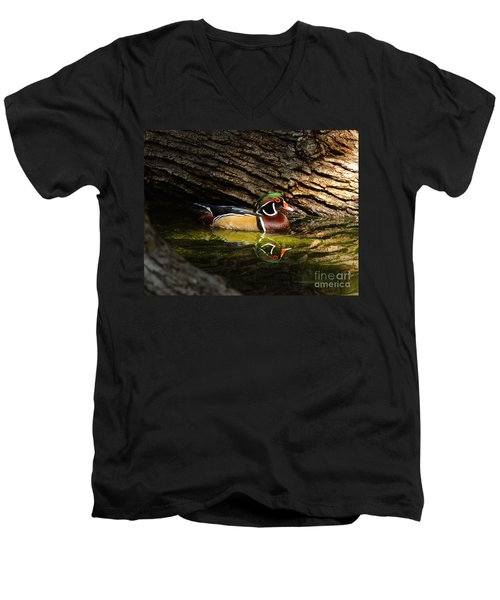 Wood Duck In Wood Men's V-Neck T-Shirt