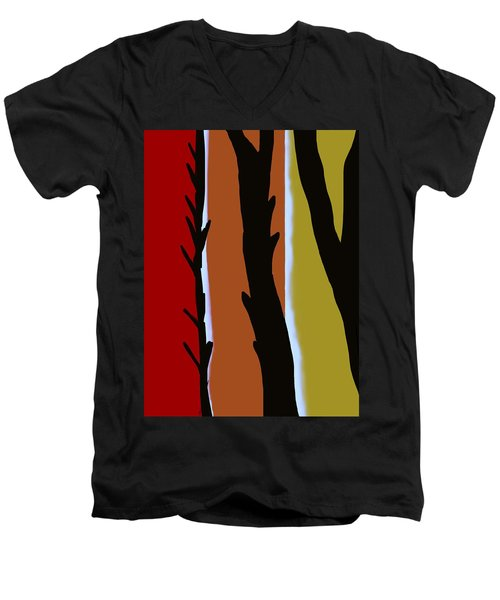 Men's V-Neck T-Shirt featuring the digital art Wood L by Christine Fournier