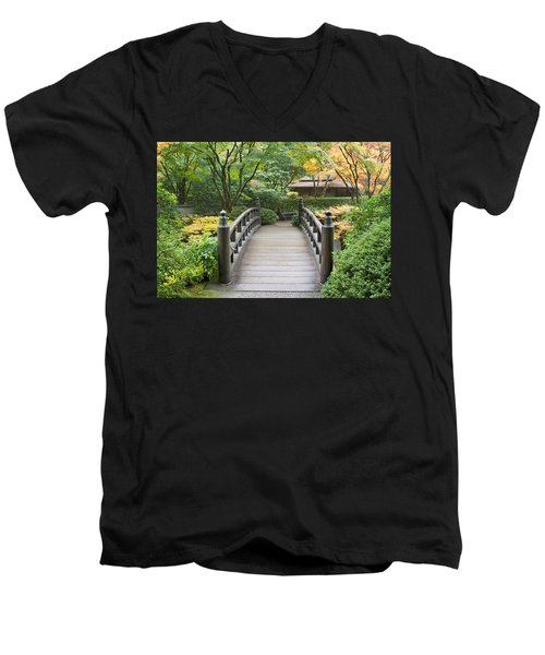 Men's V-Neck T-Shirt featuring the photograph Wooden Foot Bridge In Japanese Garden by JPLDesigns