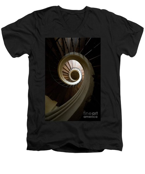 Wooden Spiral Men's V-Neck T-Shirt by Jaroslaw Blaminsky