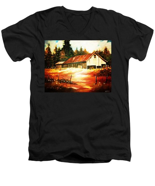 Men's V-Neck T-Shirt featuring the painting Woodland Barn In Autumn by Al Brown