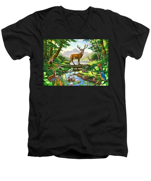 Woodland Harmony Men's V-Neck T-Shirt by Chris Heitt
