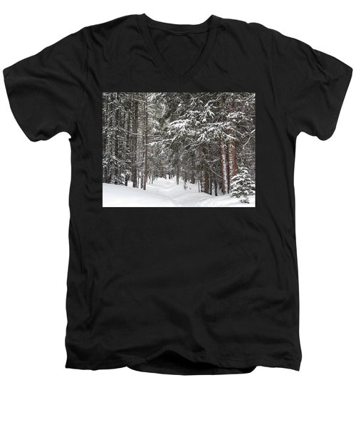 Woods In Winter Men's V-Neck T-Shirt by Eric Glaser