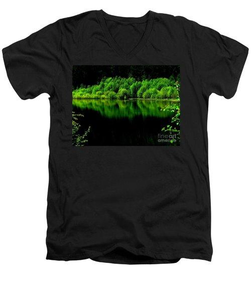 Work In Green Men's V-Neck T-Shirt by Greg Patzer