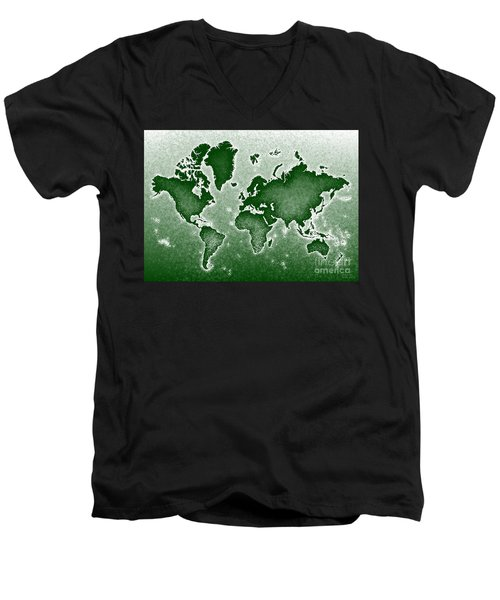 World Map Novo In Green Men's V-Neck T-Shirt by Eleven Corners