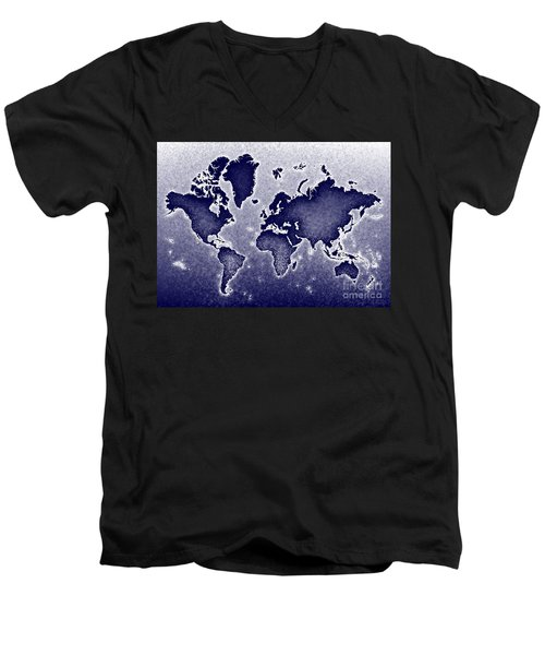 World Map Novo In Blue Men's V-Neck T-Shirt by Eleven Corners