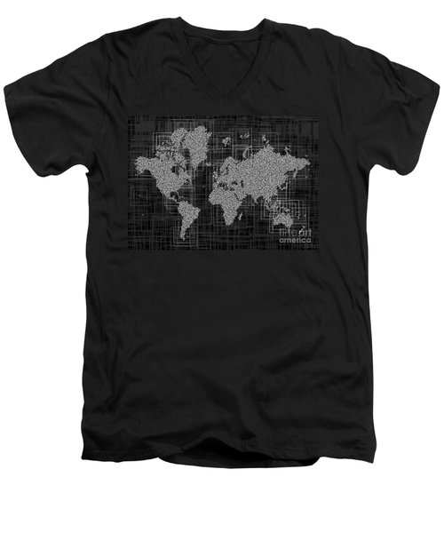 World Map Rettangoli In Black And White Men's V-Neck T-Shirt by Eleven Corners