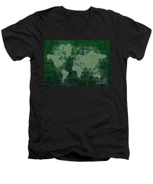 World Map Rettangoli In Green And White Men's V-Neck T-Shirt by Eleven Corners