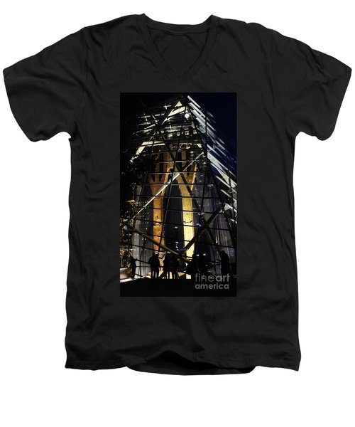 World Trade Center Museum At Night Men's V-Neck T-Shirt