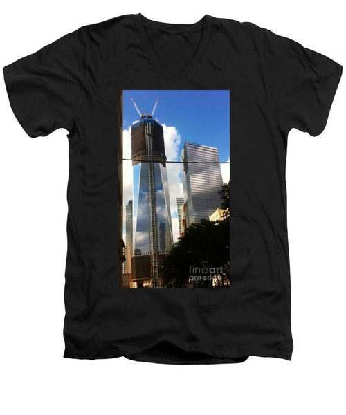 Men's V-Neck T-Shirt featuring the photograph World Trade Center Twin Tower by Susan Garren