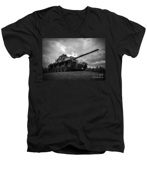 World War II Tank Black And White Men's V-Neck T-Shirt