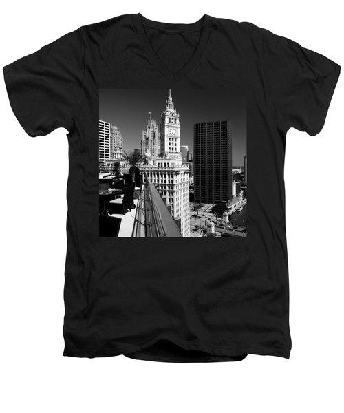Wrigley Clock Tower Skyline Black White Men's V-Neck T-Shirt