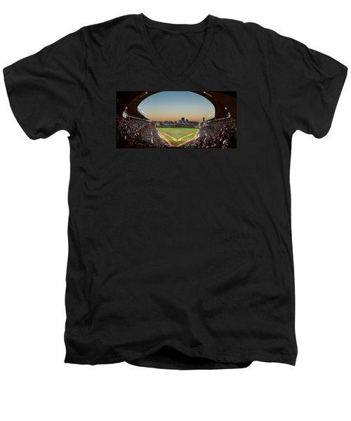 Wrigley Field Night Game Chicago Men's V-Neck T-Shirt by Steve Gadomski