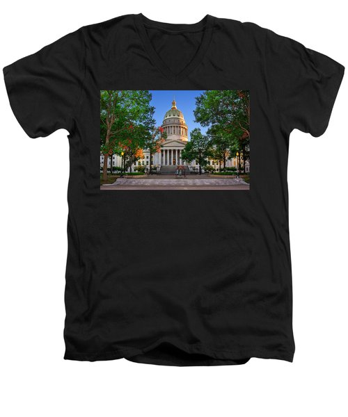 Wv Capitol As Dusk Men's V-Neck T-Shirt