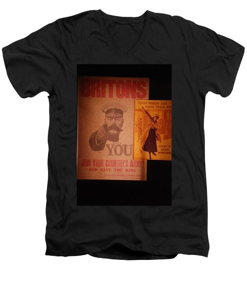 Ww1 Recruitment Posters Men's V-Neck T-Shirt