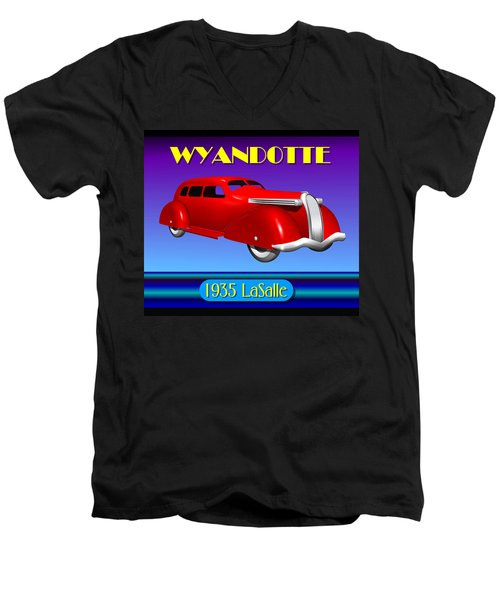 Men's V-Neck T-Shirt featuring the digital art Wyandotte 1935 Lasalle by Stuart Swartz
