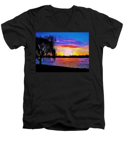 Men's V-Neck T-Shirt featuring the photograph Wyandotte Mi Sunrise by Daniel Thompson