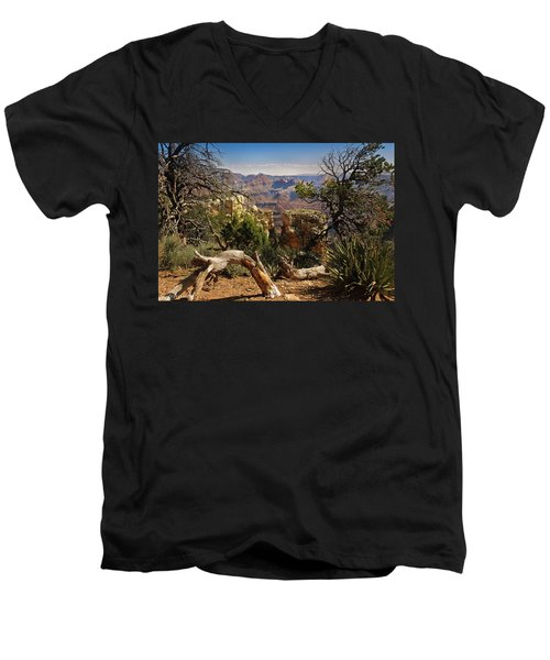 Men's V-Neck T-Shirt featuring the photograph Yaki Point 4 The Grand Canyon by Bob and Nadine Johnston