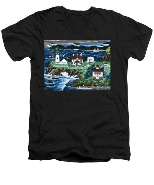 Yaquina Lighthouse Men's V-Neck T-Shirt by Jennifer Lake