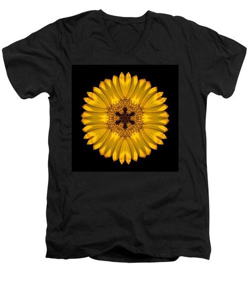 Yellow African Daisy Flower Mandala Men's V-Neck T-Shirt