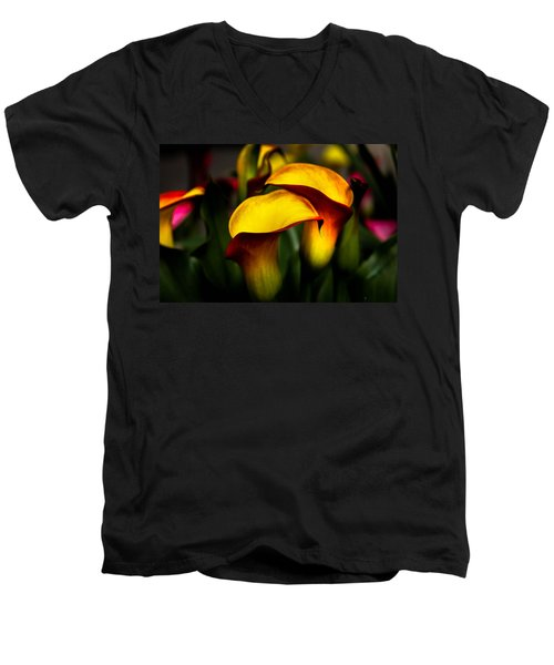 Yellow And Red Calla Lily Men's V-Neck T-Shirt by Menachem Ganon