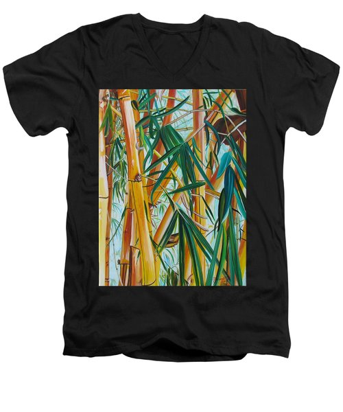 Men's V-Neck T-Shirt featuring the painting Yellow Bamboo by Marionette Taboniar