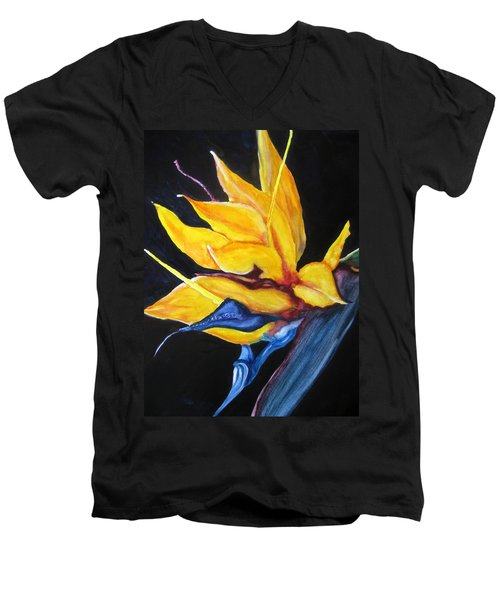 Yellow Bird Men's V-Neck T-Shirt by Lil Taylor