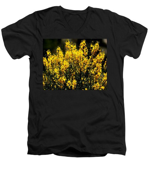 Yellow Cluster Flowers Men's V-Neck T-Shirt by Matt Harang