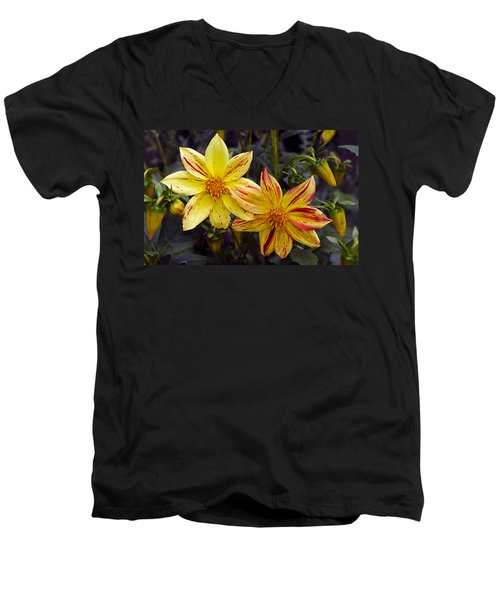 Yellow Dahlia Men's V-Neck T-Shirt