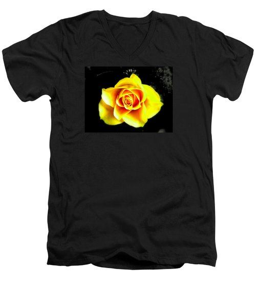 Yellow Flower On A Dark Background Men's V-Neck T-Shirt