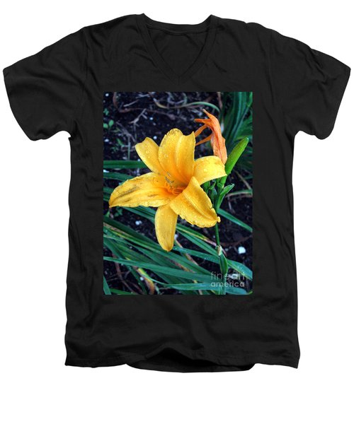 Men's V-Neck T-Shirt featuring the photograph Yellow Flower by Sergey Lukashin