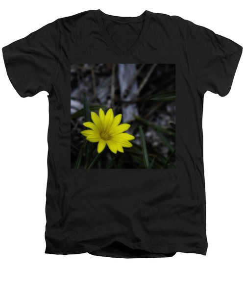 Yellow Flower Soft Focus Men's V-Neck T-Shirt