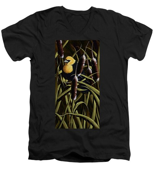 Yellow Headed Blackbird And Cattails Men's V-Neck T-Shirt