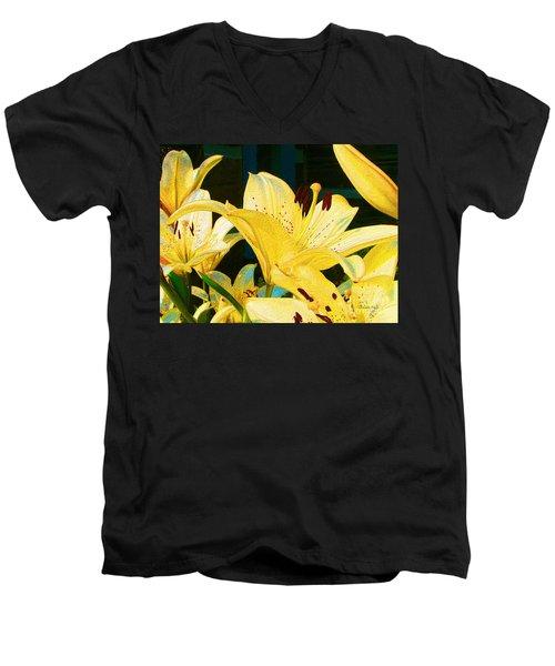 Yellow Lilies Men's V-Neck T-Shirt