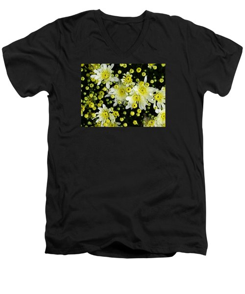 Men's V-Neck T-Shirt featuring the photograph Yellow Mums by Lyric Lucas