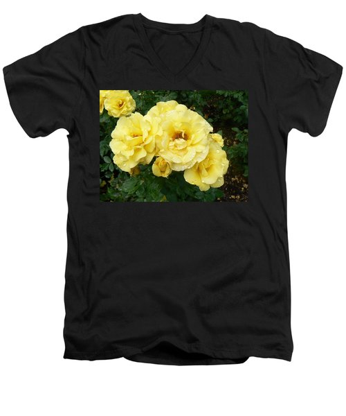 Yellow Rose Of Pa Men's V-Neck T-Shirt by Michael Porchik