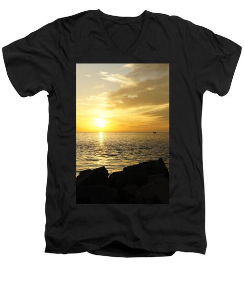 Men's V-Neck T-Shirt featuring the photograph Yellow Sky by Laurie Perry