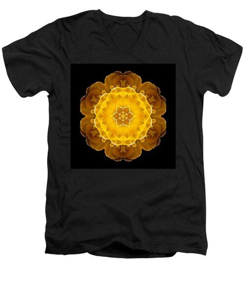 Yellow Tulip II Flower Mandala Men's V-Neck T-Shirt