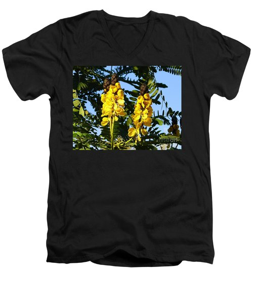Men's V-Neck T-Shirt featuring the photograph Yellow Twins by Lew Davis