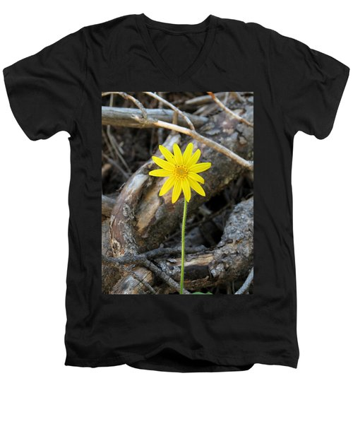 Men's V-Neck T-Shirt featuring the photograph Yellow Wildflower by Laurel Powell